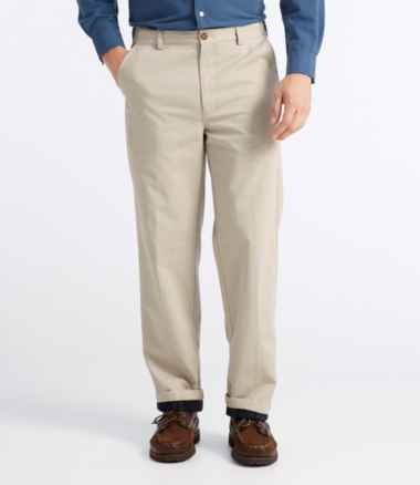 Men's Lined Double L® Chinos, Natural Fit Hidden Comfort Waist Plain Front