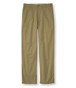Men's Lined Double L Chinos, Natural Fit Hidden Comfort Waist Plain Front