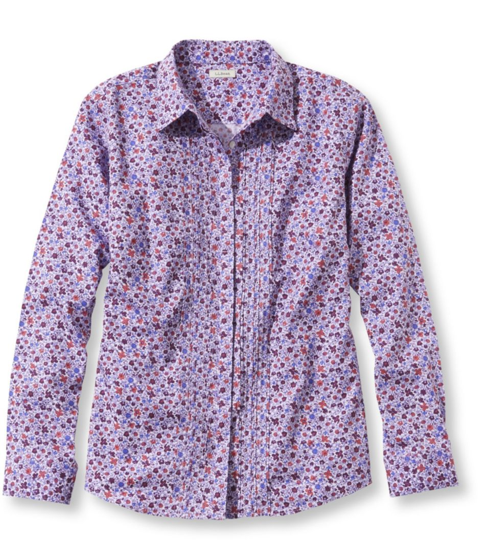 Wrinkle-Free Pinpoint Oxford Shirt, Pin-Tucked Slightly Fitted Floral