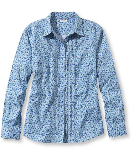 Wrinkle resistant pinpoint oxford shirt pin tucked floral for Ll bean wrinkle resistant shirts