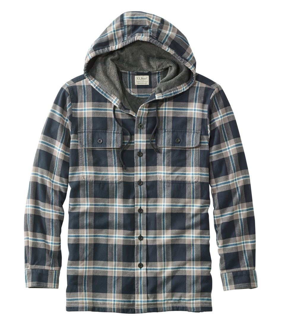 Fleece-Lined Flannel Shirt, Traditional Fit Hooded