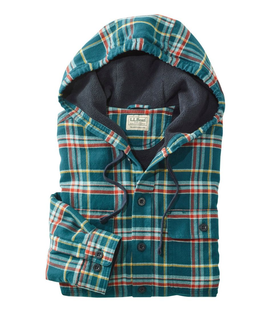 Men's Fleece-Lined Flannel Shirt, Traditional Fit, Hooded