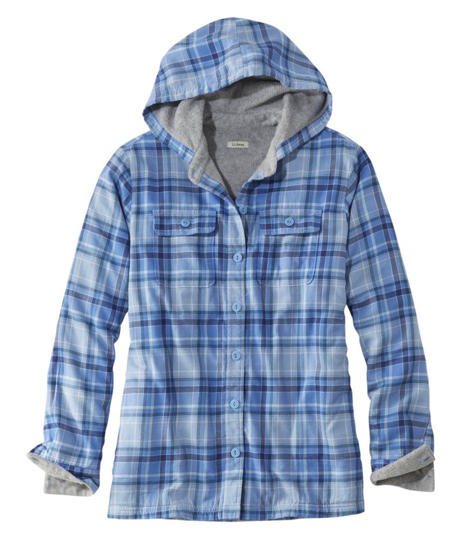 Fleece-Lined Flannel Hoodie, Plaid