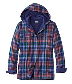 Fleece-Lined Flannel Hoodie, Plaid