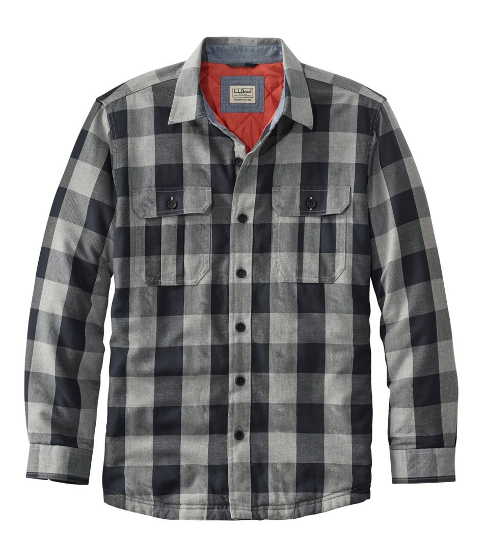 Men's PrimaLoft-Lined Shirt-Jac, Slightly Fitted Plaid