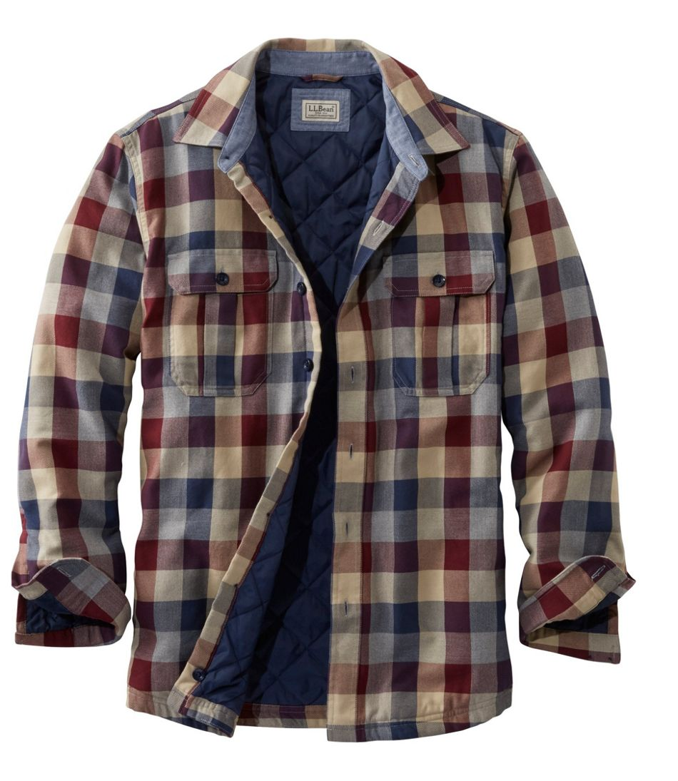 Men's PrimaLoft-Lined Shirt-Jac, Slightly Fitted Plaid