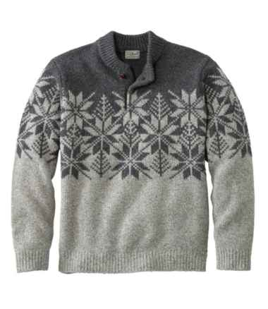 L.L.Bean Classic Ragg Wool Fair Isle Henley Sweater