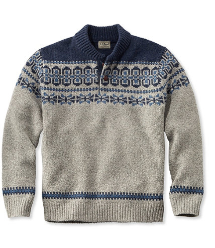 Men's L.L.Bean Classic Ragg Wool Fair Isle Henley Sweater | Free ...