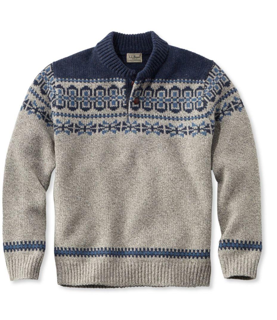 L.L.Bean Classic Ragg Wool Fair Isle Henley Sweater