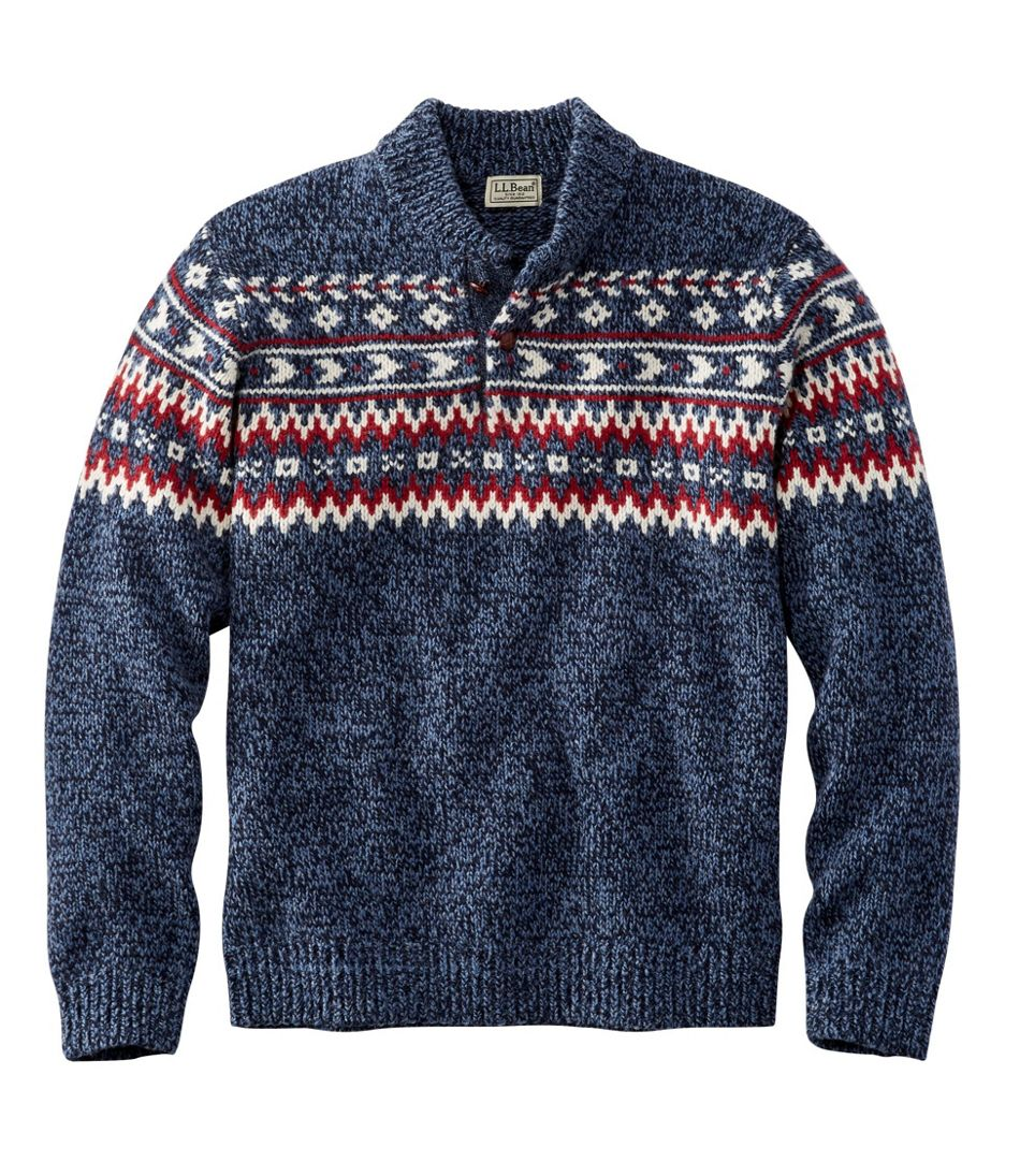 1920s Mens Sweaters, Pullovers, Cardigans L.L.Bean Classic Ragg Wool Fair Isle Henley Sweater $84.00 AT vintagedancer.com