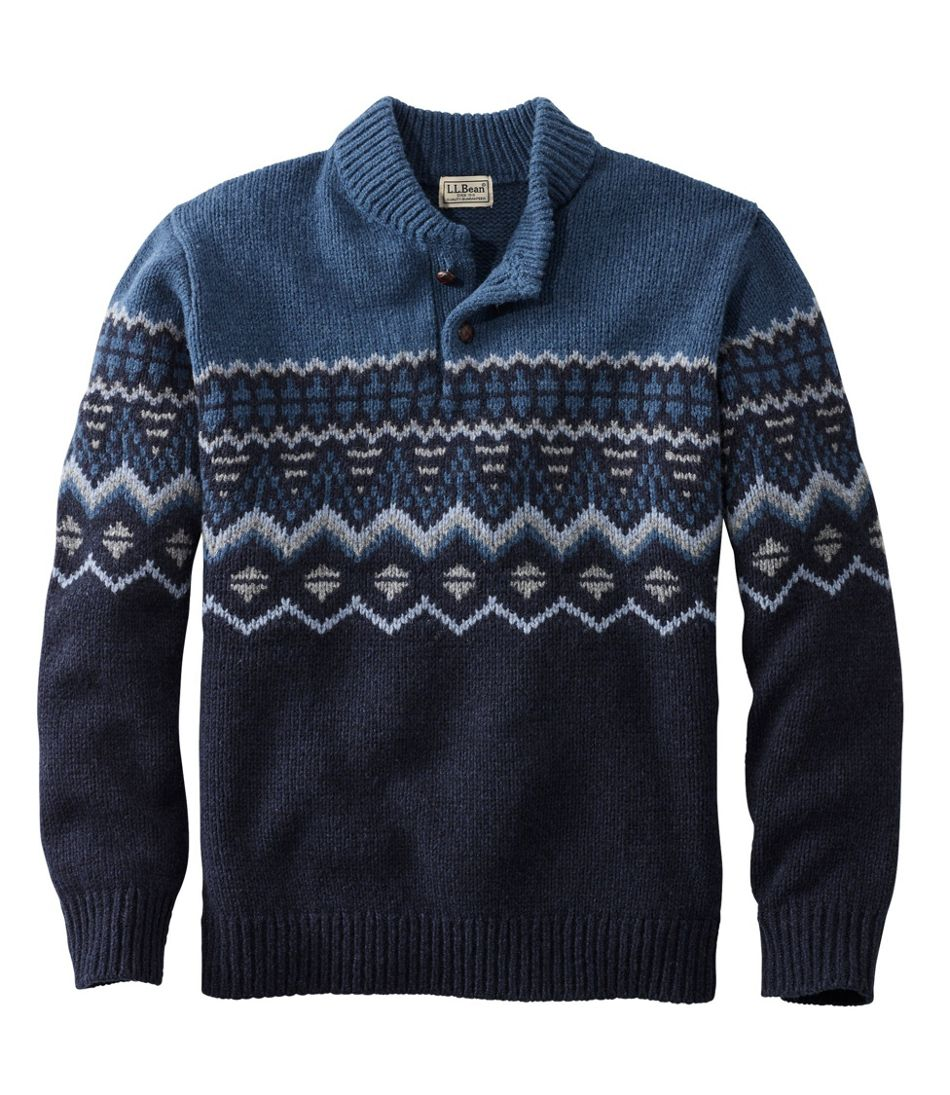 Men's Vintage Sweaters – 1920s to 1960s Retro Jumpers L.L.Bean Classic Ragg Wool Fair Isle Henley Sweater $84.00 AT vintagedancer.com