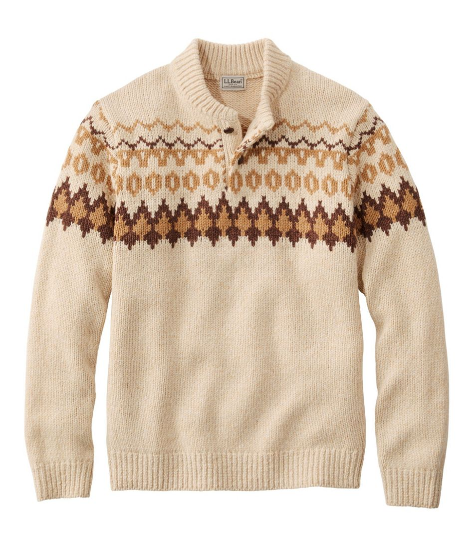 1960s Mens Shirts | 60s Mod Shirts, Hippie Shirts Mens L.L.Bean Classic Ragg Wool Fair Isle Henley Sweater  AT vintagedancer.com