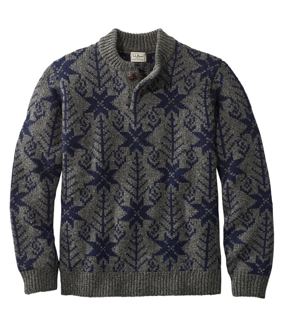 Men's Vintage Sweaters, Retro Jumpers 1920s to 1980s Mens L.L.Bean Classic Ragg Wool Fair Isle Henley Sweater $74.99 AT vintagedancer.com