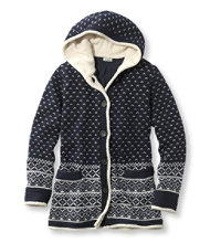 Women's Lined Sherpa-Trimmed Hoodie, Fair Isle