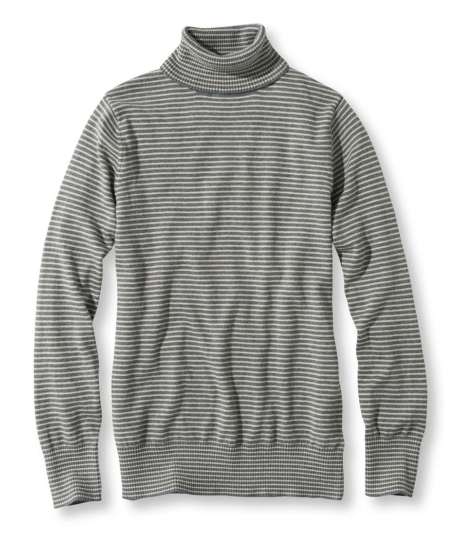 Cotton/Cashmere Sweater Turtleneck Stripe