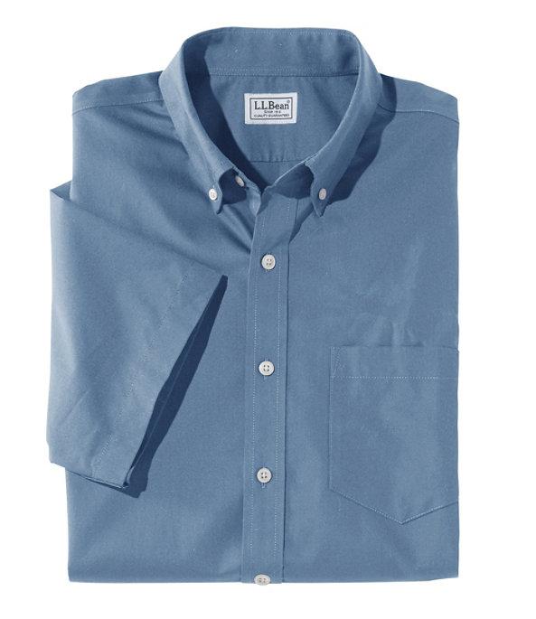 Wrinkle-Free Poplin Shirt, Short-Sleeve, Mid-Blue, large image number 0