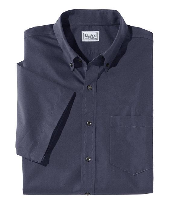 Wrinkle-Free Poplin Shirt, Short-Sleeve, Bright Navy, large image number 0
