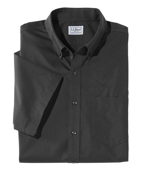 Wrinkle-Free Poplin Shirt, Short-Sleeve, Classic Black, large image number 0