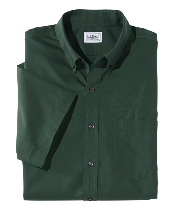 Wrinkle-Free Poplin Shirt, Short-Sleeve, Hunter, large image number 0