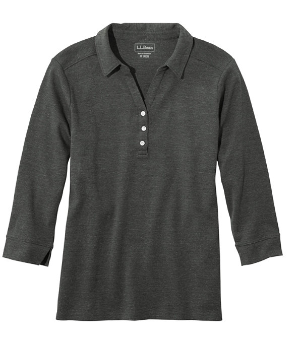 Women's Three-Quarter-Sleeve Interlock Polo, Charcoal Heather, large image number 0