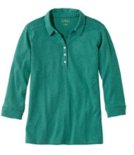 Women's L.L.Bean Three-Quarter-Sleeve Interlock Polo