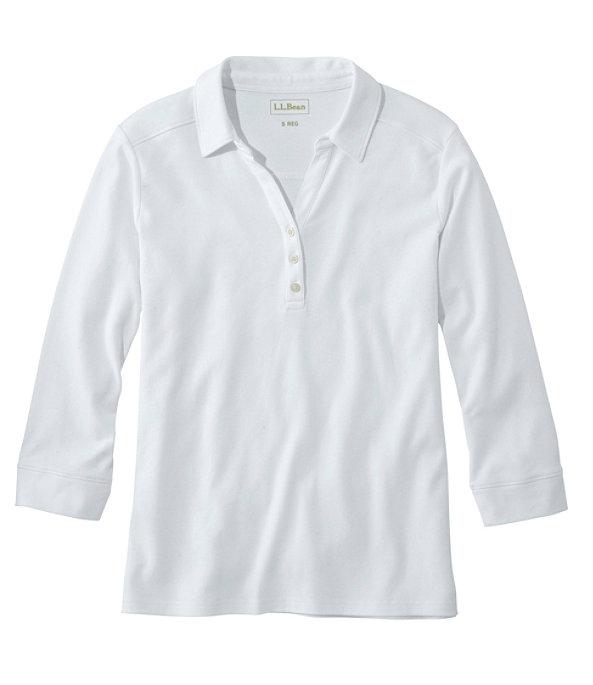 Women's Three-Quarter-Sleeve Interlock Polo, White, large image number 0