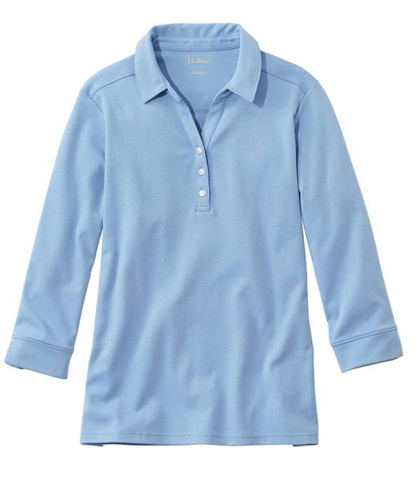Women's Three-Quarter-Sleeve Interlock Polo, Soft Blue, large image number 0