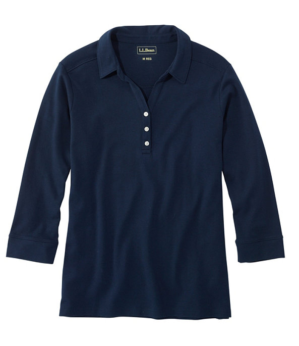Women's Three-Quarter-Sleeve Interlock Polo, Classic Navy, large image number 0