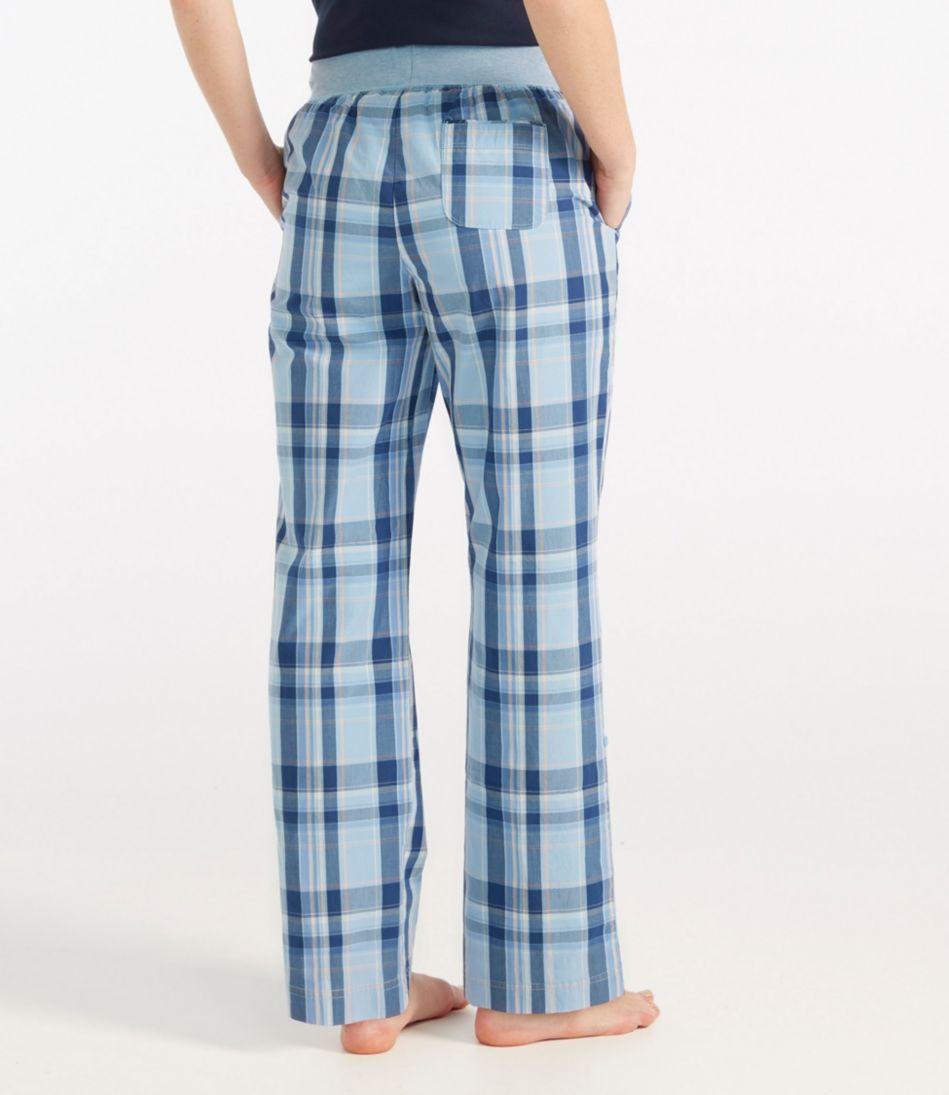 Cotton Poplin Sleep Pants, Plaid