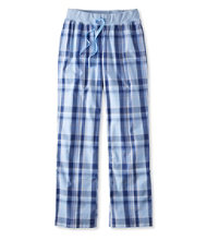 Cotton Poplin Sleep Pants, Plaid