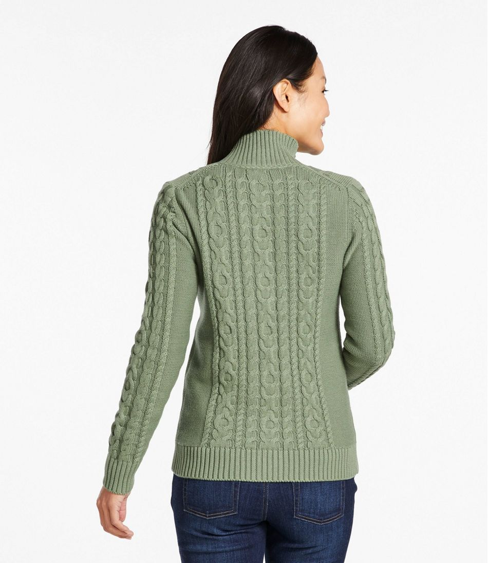 Women's Double L® Mixed-Cable Sweater, Zip-Front Cardigan