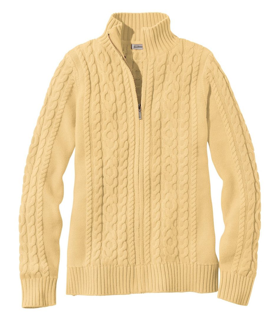 Double L® Mixed-Cable Sweater, Zip-Front Cardigan