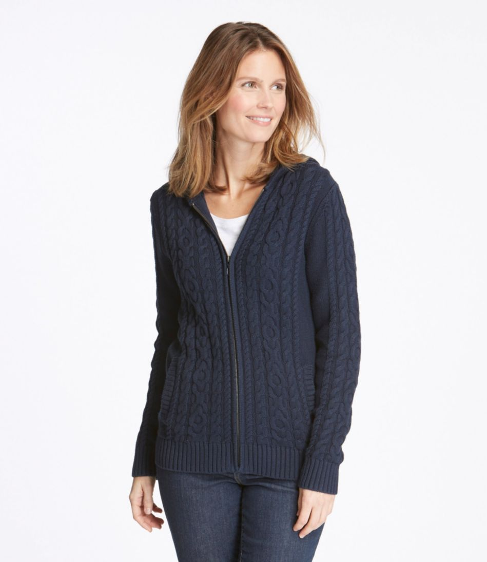 Double L® Mixed-Cable Sweater, Zip-Front Hoodie