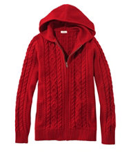 Women's Double L Mixed-Cable Sweater, Zip-Front Hoodie