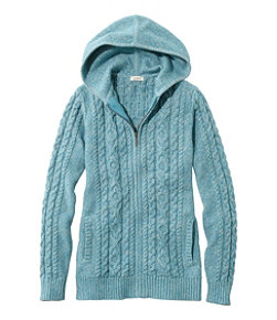 Double L Mixed-Cable Sweater, Zip-Front Hoodie