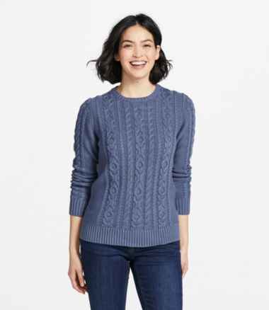 Women's Double L® Mixed-Cable Sweater, Crewneck
