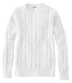 Women's Double L Mixed-Cable Sweater, Crewneck