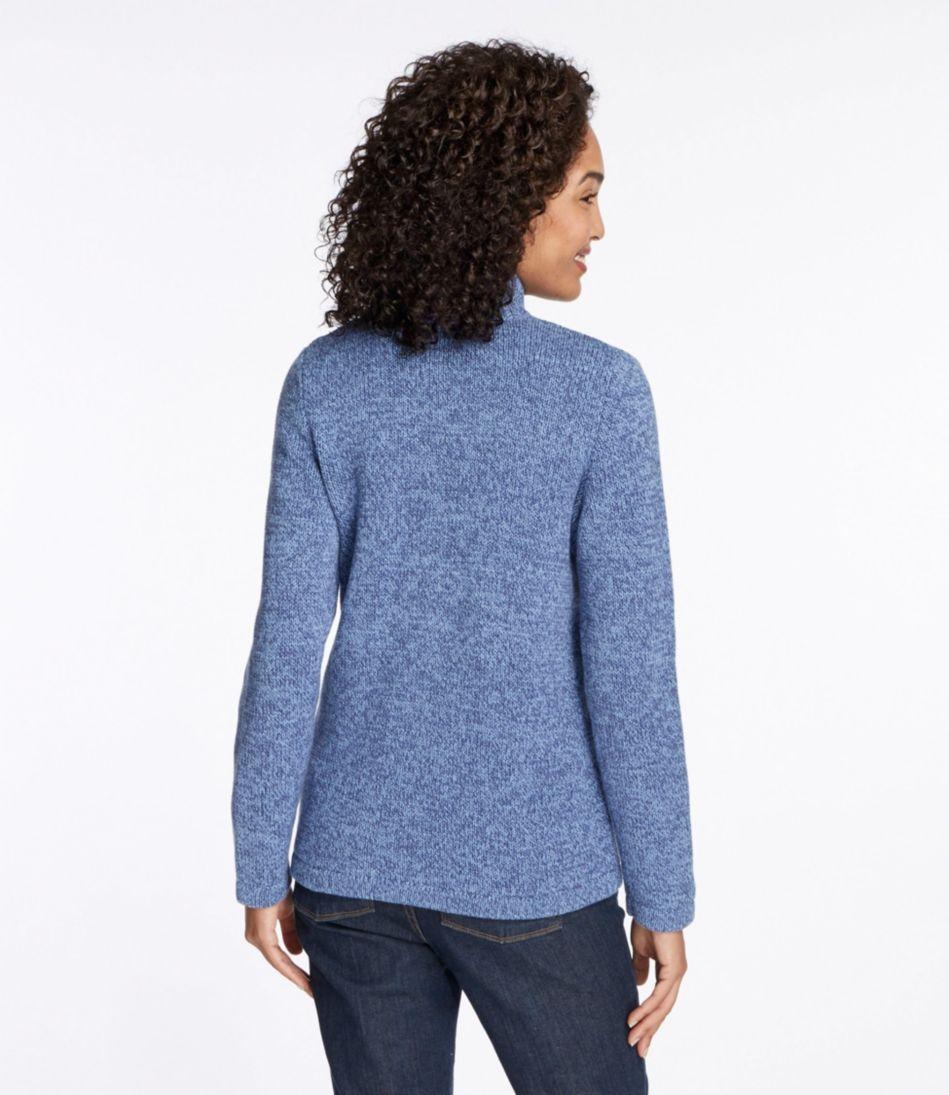 Marled Cotton Sweater, Zip Cardigan