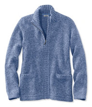 Women's Marled Cotton Sweater, Zip Cardigan