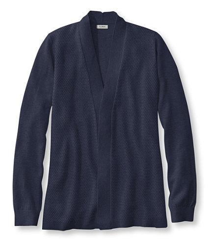 Premium Supima Cotton Sweater, Textured Open Cardigan | Free ...