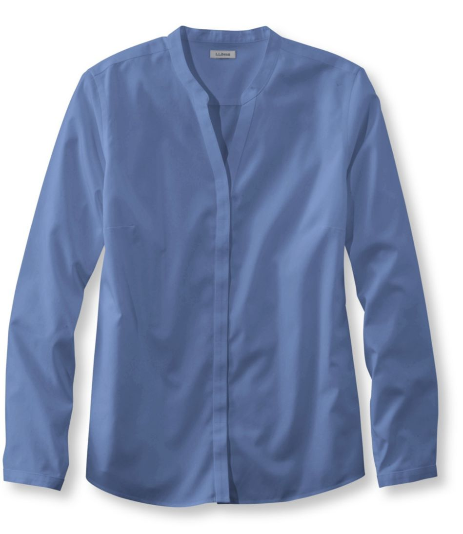 Wrinkle-Free Pinpoint Oxford Shirt, Long-Sleeve Slightly Fitted Splitneck