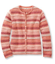 Marled Cotton Cardigan, Stripe