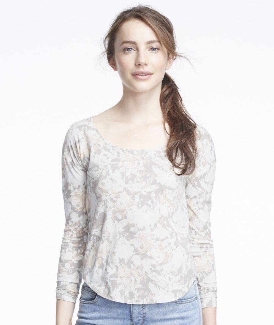 Signature Cotton/Modal Scoopneck, Long-Sleeve Floral