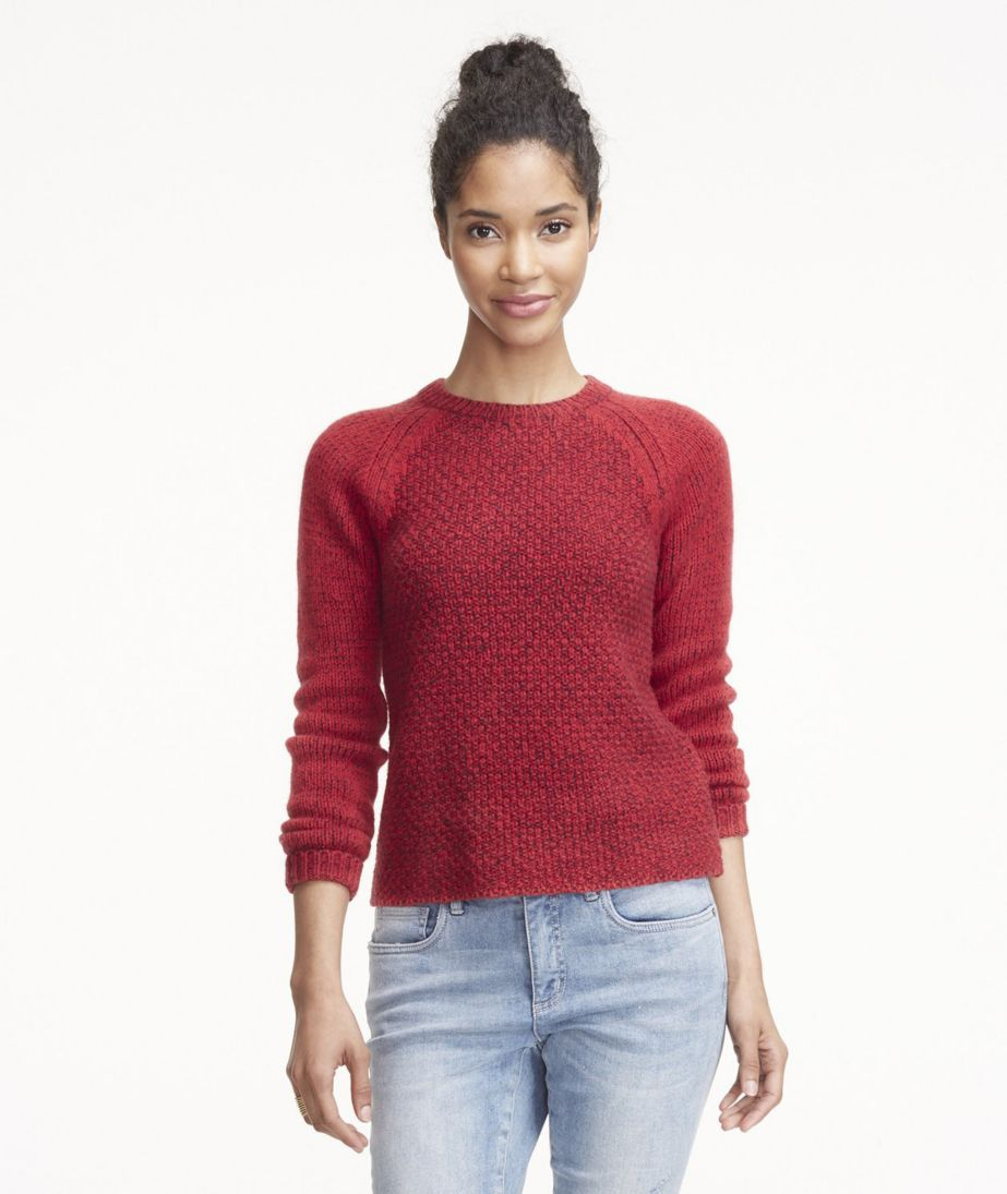 Signature Heathered Mixed-Stitch Sweater, Crew