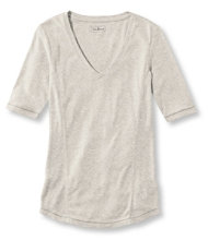 Pima Cotton/Modal Fitted Tee, Elbow-Sleeve V-Neck