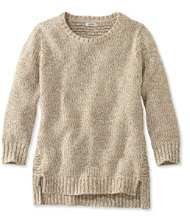Marled Tape-Yarn Sweater, Three-Quarter-Sleeve Pullover