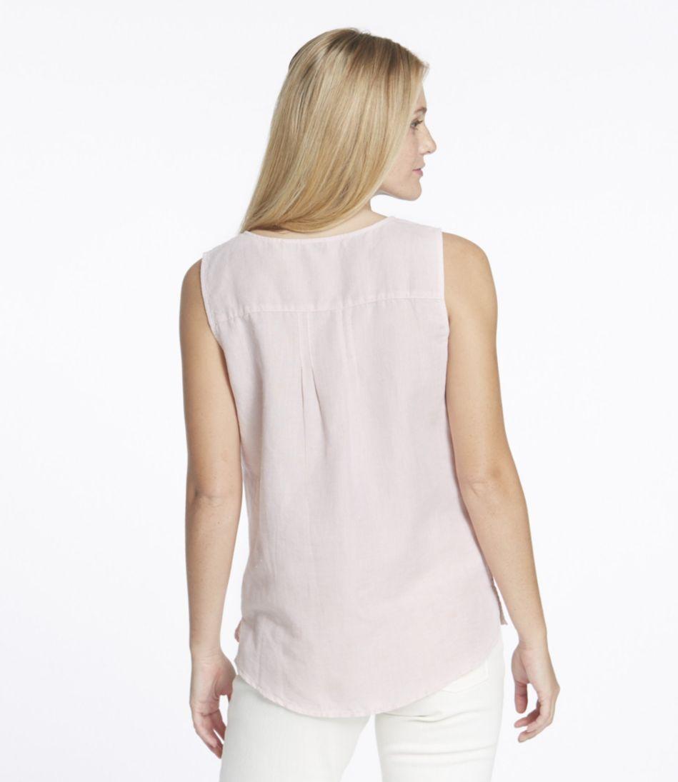 Embroidered Linen/Cotton Shirt, Popover Sleeveless
