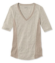 Pima Cotton/Modal Fitted Tee, Elbow-Sleeve V-Neck Stripe