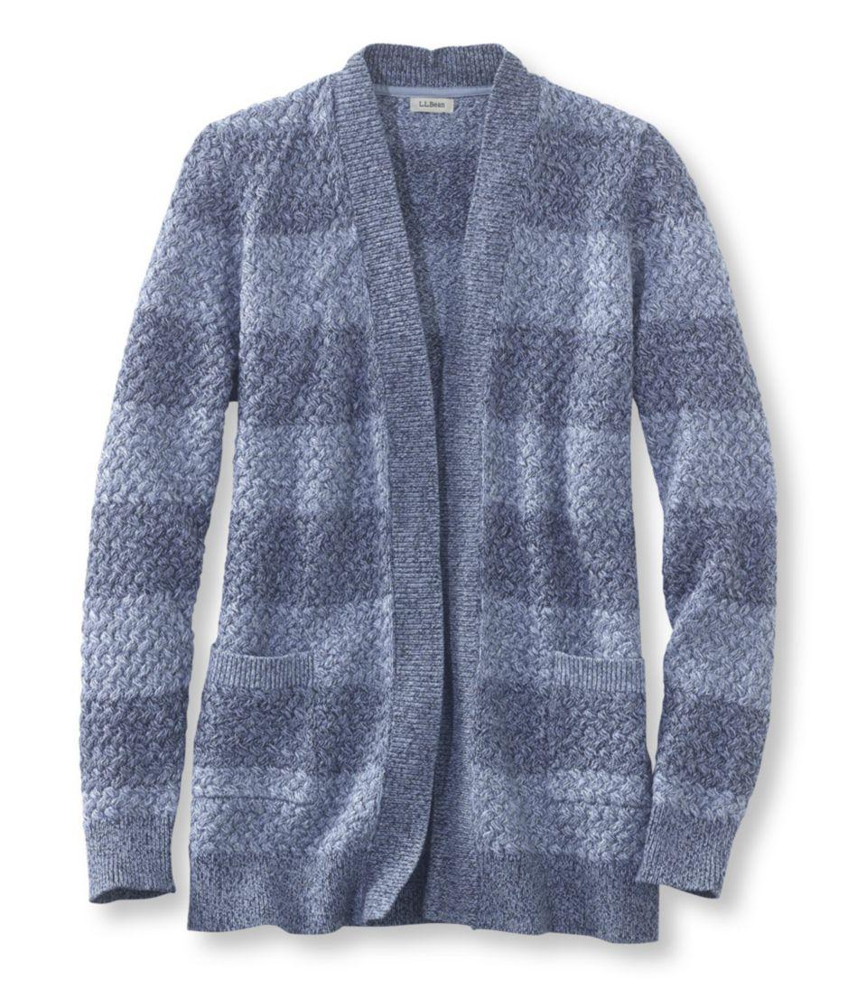 Cotton Basket-Weave Sweater, Open Cardigan Stripe