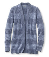 Cotton Basket-Weave Sweater, Open Cardigan Stripe
